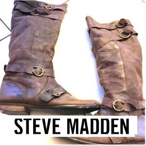 Steve Madden UO Pirate Motorcycle Women Brn Boots